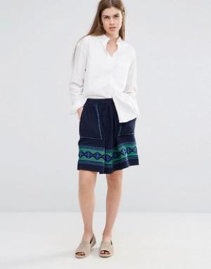 Vanessa Bruno Athé Короткая расклешенная юбка с вышивкой и карманами Athe. Цвет: темно-синий
