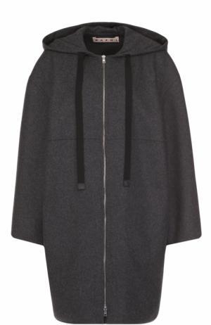 Шерстяное пальто на молнии с капюшоном Marni. Цвет: серый