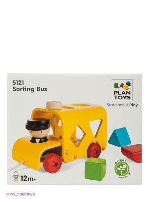 Сортер Автобус PLAN TOYS. Цвет: желтый