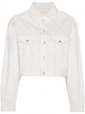 Укороченная джинсовая куртка Enid Simon Miller. Цвет: белый