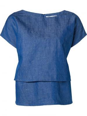 Многослойная джинсовая блузка Co. Цвет: синий