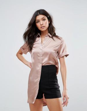 Glamorous Атласная рубашка. Цвет: коричневый