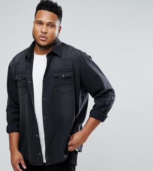 Replika Черная джинсовая рубашка классического кроя PLUS. Цвет: черный