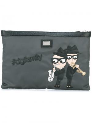 Клатч с заплаткой designers Dolce & Gabbana. Цвет: серый