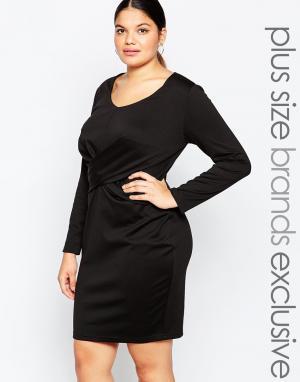 Carmakoma Облегающее платье с длинными рукавами. Цвет: черный