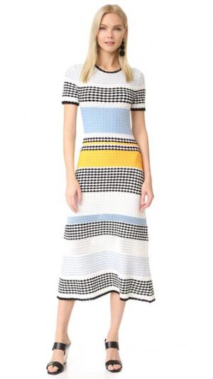 Платье с короткими рукавами Bennington Novis. Цвет: голубой/календула/цвет слоновой кости/черный