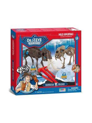 Двойной набор для проведения раскопок - Соблезубый тигр и Мамонт серия Dr.Steve Hunters Geoworld. Цвет: коричневый, красный, синий