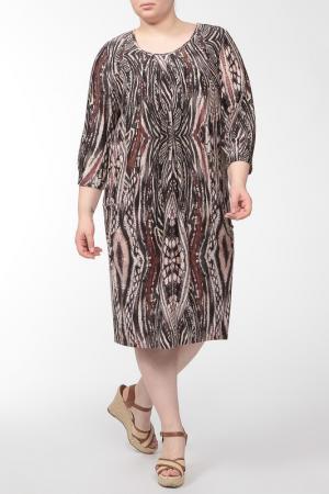 Свободное платье с рукавом 3/4 Amazone. Цвет: коричневый