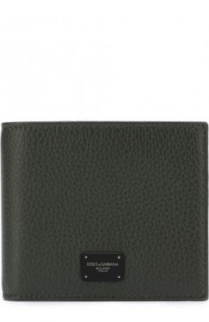 Кожаное портмоне с отделениями для кредитных карт Dolce & Gabbana. Цвет: темно-зеленый