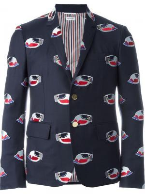 Пиджак с заплатками в виде рыб Thom Browne. Цвет: синий