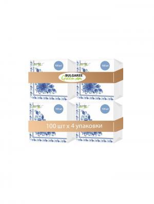 Набор из 4-х упаковок однослойных салфеток с принтом Гжель, 4х100шт Bulgaree Green. Цвет: белый