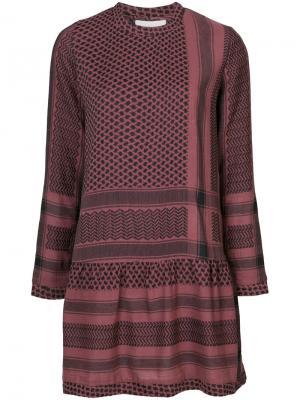 Платье с комбинированным узором Cecilie Copenhagen. Цвет: красный