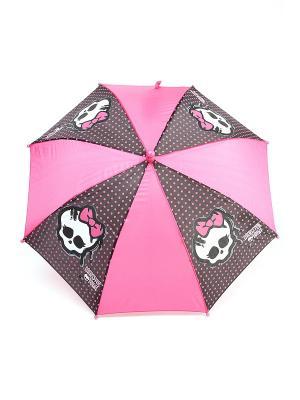 Зонт-трость Monster High. Цвет: черный, белый, фуксия