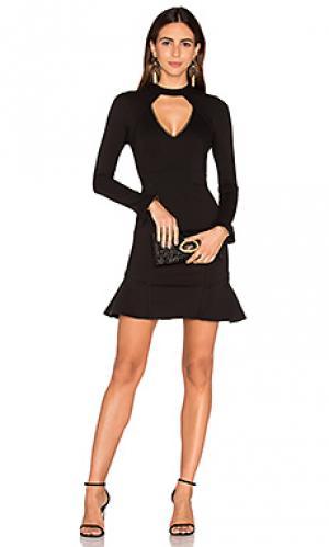 Платье из понти с длинным рукавом и ромбовидным вырезом NICHOLAS. Цвет: черный