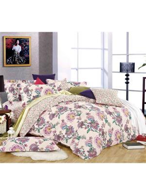Постельное белье, евро 1st Home. Цвет: светло-зеленый, розовый, светло-бежевый