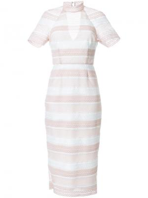 Платье миди Testa в полоску Rebecca Vallance. Цвет: розовый и фиолетовый