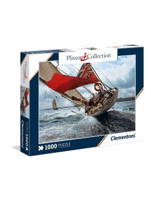 Пазл Плиссон. Яхта Вельшеда. 1000 элементов. Clementoni. Цвет: лазурный, красный, темно-серый