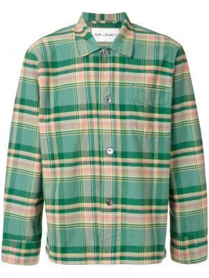 Рубашка в клетку Our Legacy. Цвет: зелёный