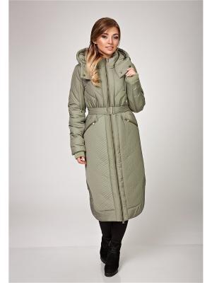 Пальто, пояс D`imma. Цвет: оливковый
