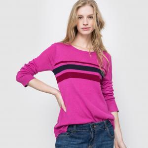 Пуловер в полоску. Длинные рукава R essentiel. Цвет: в полоску/розовый