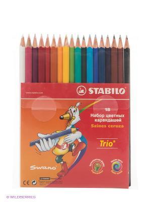 Набор цветных карандашей, 18 цветов Stabilo. Цвет: красный