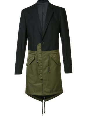 Однобортное пальто колор-блок D.Gnak. Цвет: чёрный