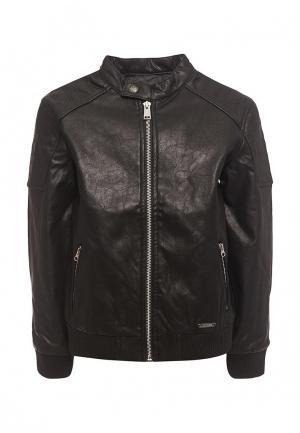 Куртка кожаная Guess. Цвет: черный