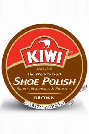 Крем для обуви в банке KIWI. Цвет: коричневый