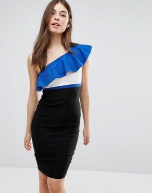 Vesper Платье-футляр на одно плечо с контрастной оборкой. Цвет: синий
