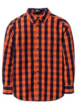 Рубашка. Цвет: темно-синий/красно-оранжевый в клетку