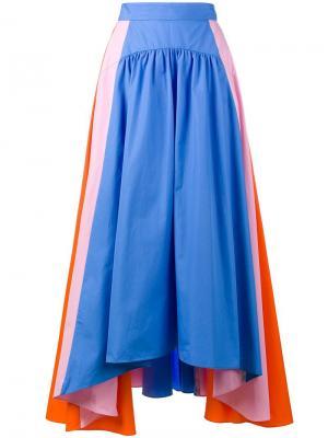 Полосатая асимметричная юбка Peter Pilotto. Цвет: синий