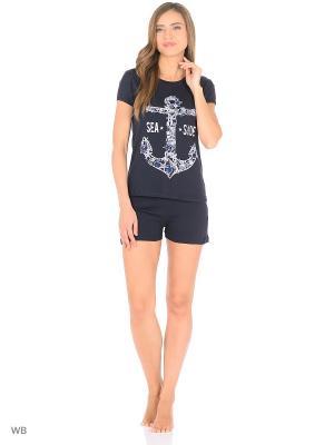Костюм-футболка, шорты NAGOTEX. Цвет: черный