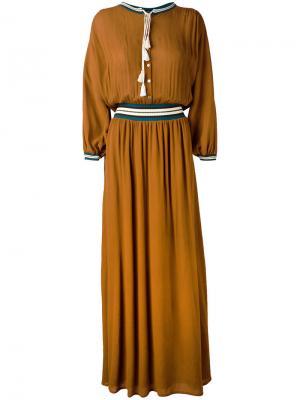 Long tassel detail dress Roberto Collina. Цвет: коричневый