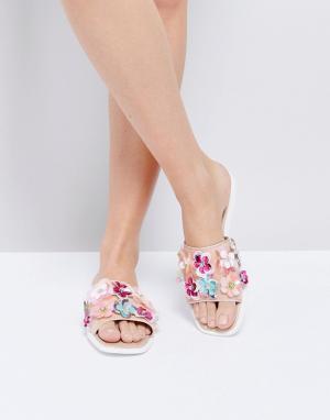 Miss KG Декорированные шлепанцы Rihanne. Цвет: розовый