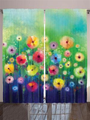 Комплект фотоштор Нежные цветы для женщин, 290*265 см Magic Lady. Цвет: голубой, оранжевый, желтый, черный, синий, зеленый