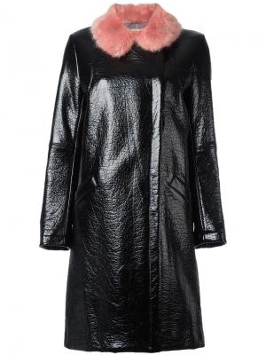 Пальто Hokus Hok с кожаным эффектом Shrimps. Цвет: чёрный