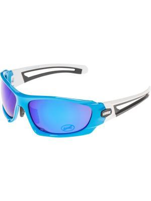 Солнцезащитные очки Uvex. Цвет: синий, белый