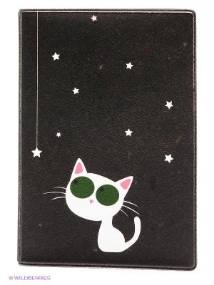 Обложка для паспорта Кошка и звезды Mitya Veselkov. Цвет: хаки