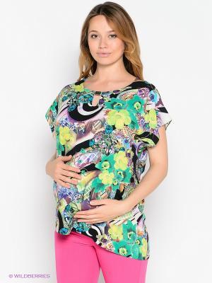 Блузка UNIOSTAR. Цвет: зеленый, черный