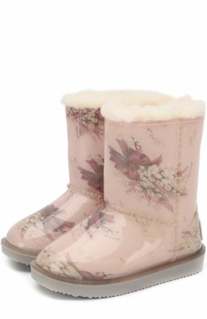 Непромокаемые сапоги с принтом Monnalisa. Цвет: розовый