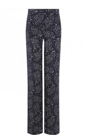 Шелковые брюки с принтом Stella McCartney. Цвет: темно-синий
