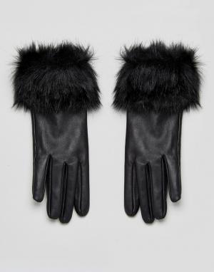 Urbancode Кожаные перчатки с отделкой из искусственного меха. Цвет: черный