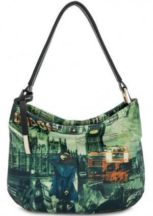 Кожаная сумка с со съемным плечевым ремнем Curanni. Цвет: мультиколор
