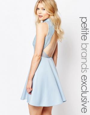 John Zack Petite Короткое приталенное платье с открытой спиной и отделкой пайетками в. Цвет: синий