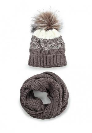 Комплект шапка и снуд Fete. Цвет: коричневый