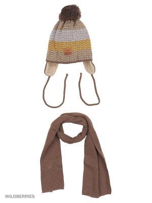 Шапка и шарф Agbo. Цвет: коричневый