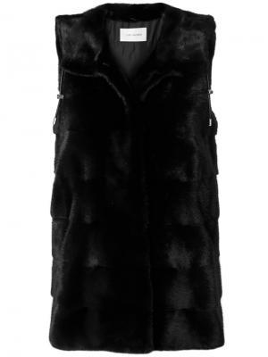 Длинная куртка-жилет Yves Salomon. Цвет: чёрный