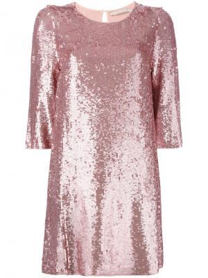 Платье шифт декорированное пайетками Amen. Цвет: розовый и фиолетовый