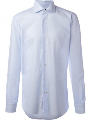 Рубашка с закругленным подолом Barba. Цвет: синий