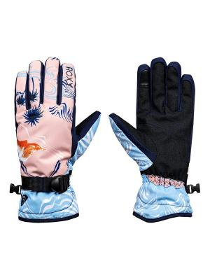Перчатки ROXY. Цвет: светло-голубой, бледно-розовый, темно-синий